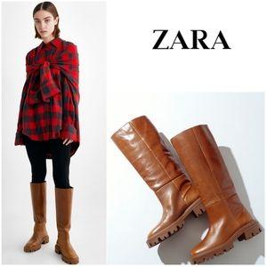 NWT ZARA   Low Heeled Lug Sole Leather Tall Boots